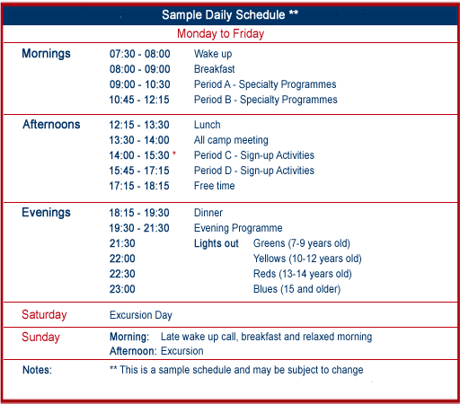 Sample Daily Summer Camp Schedule Village Camps International – Sample Daily Agenda